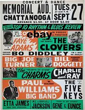 """The Clovers / Faye Adams Chattanooga 16"""" x 12"""" Photo Repro Concert Poster"""