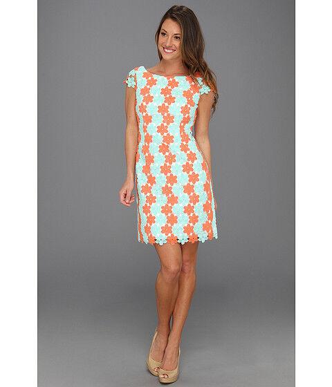 NWT NWT NWT Lilly Pulitzer Barbara Dress Sunrise orange Two Tone Truly Petal Lace  358 8 60460b
