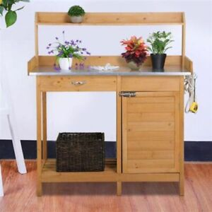 Magnificent Details About New Outdoor Natural Fir Wood Garden Potting Bench Metal Tabletop Drawer Cabinet Creativecarmelina Interior Chair Design Creativecarmelinacom