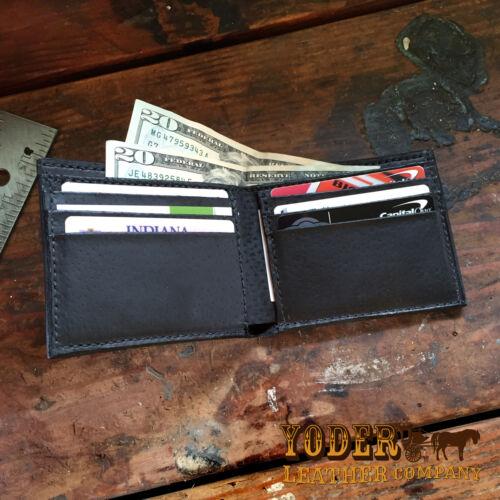 Amish USA Handmade Billfold Cash Wallet Black Alligator Bifold Wallet