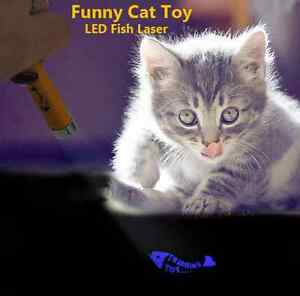New Interactive led Training Funny Cat Play Toy Laser Pointer Pen Fish Animation