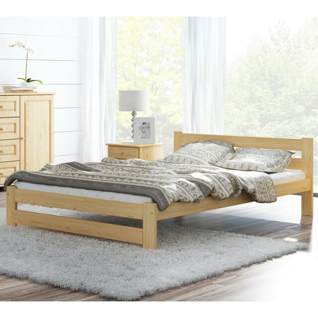Pine Wood Bed Frame 135x190 4ft6 Double Size Slats Unvarnished ...