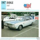 DODGE DART 1967 CAR VOITURE USA ETATS-UNIS CARTE CARD FICHE