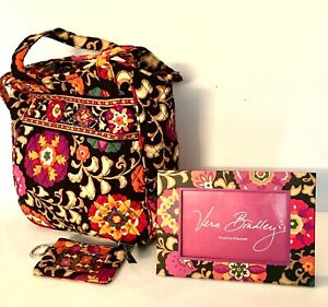Vera-Bradley-Tote-Bag-ID-Coin-Wallet-and-Photo-Frame-034-Suzani-034-Retired