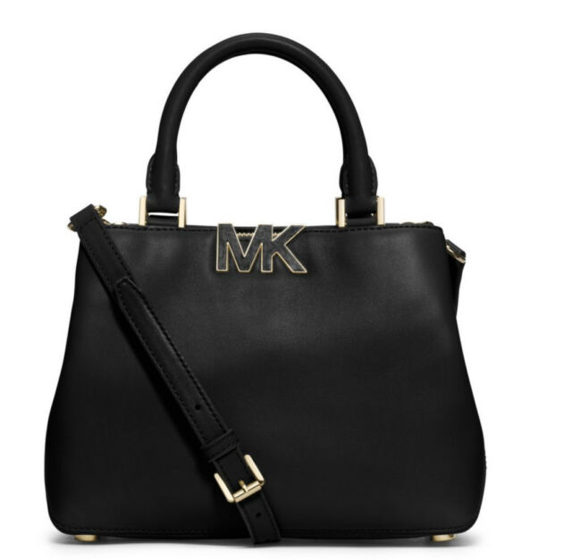 b35f164d4b9 Authentic Michael Kors Florence Small Satchel Black Smooth Leather Gold