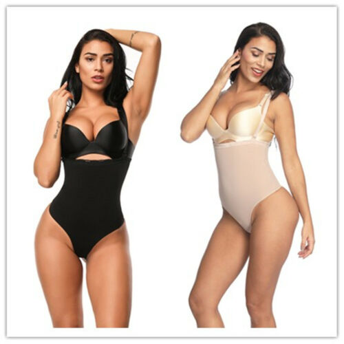 Womens Trust Your Thinstincts Thong Body Shaper Beige Black Plus Size Shapewear