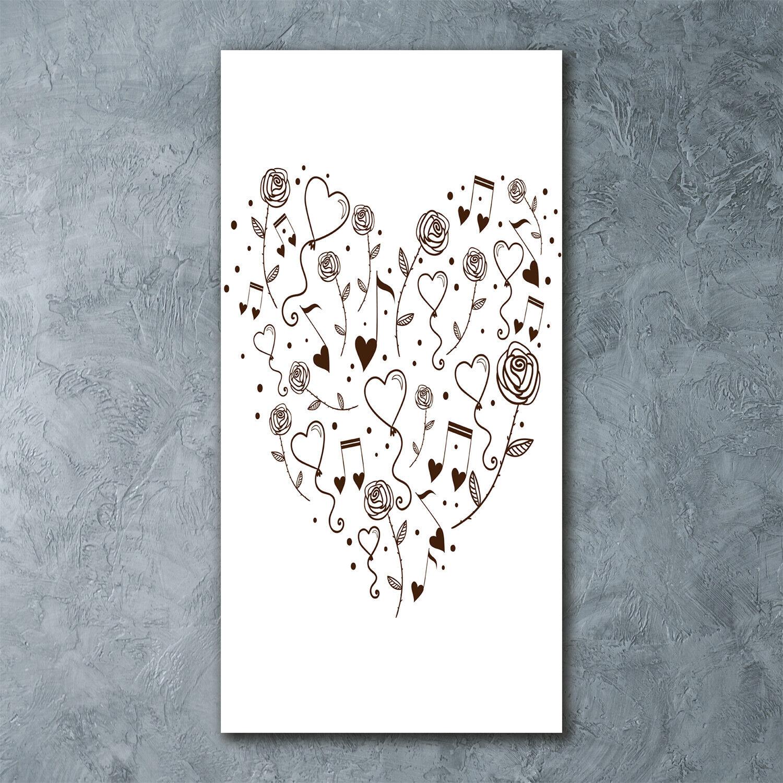 Wandbild Kunst-Druck auf Hart-Glas senkrecht 60x120 Herz