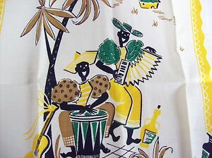 Vintage Black Americana African American Yellow Printed Towel - Tropical Theme