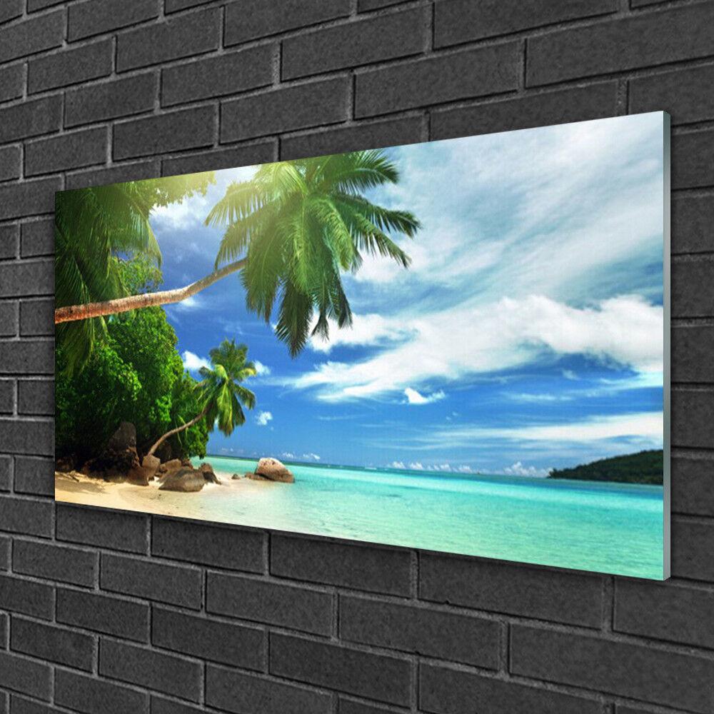 Tableau sur verre Image Impression 100x50 Paysage Palmiers Plage Mer