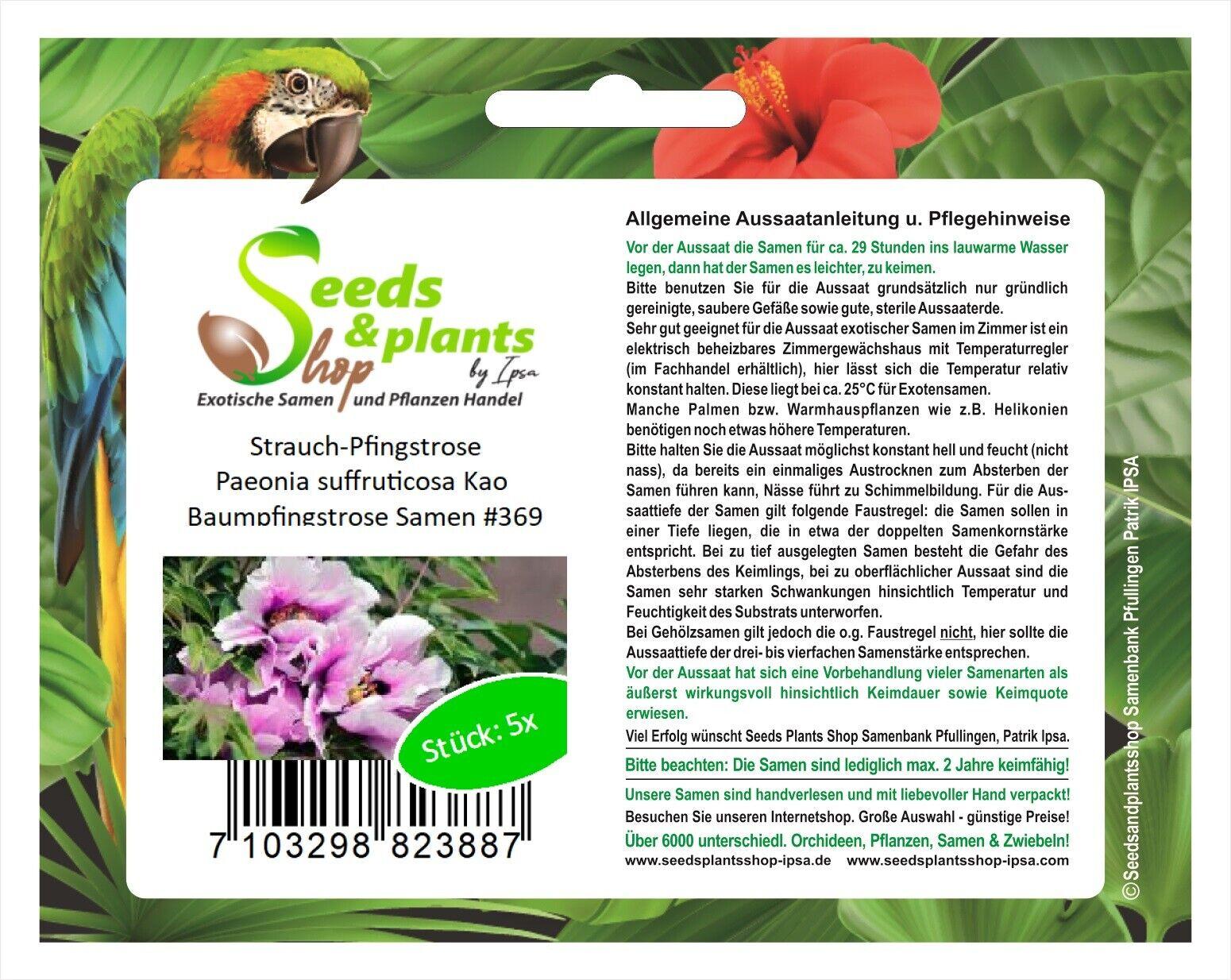 5x Pfingstrose Paeonia suffruticosa Kao Baumpfingstrose Samen #369