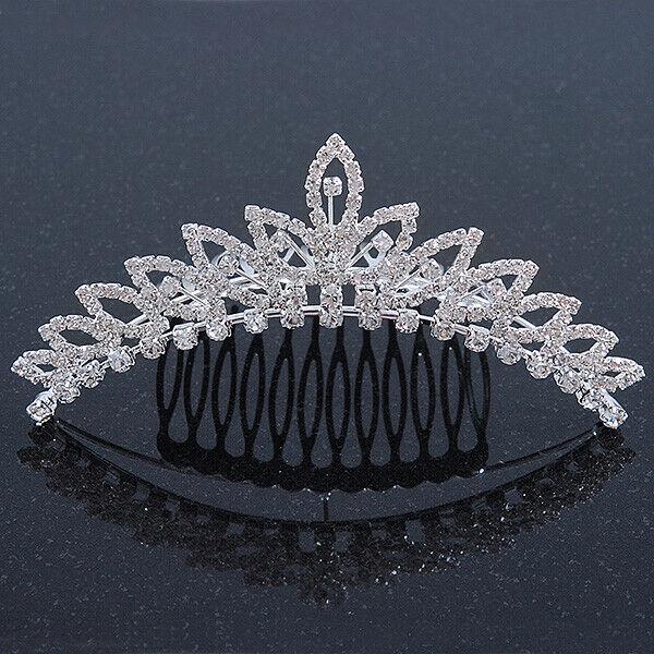 Bridal/ Wedding/ Prom/ Party Rhodium Plated Swarovski Crystal Hair Comb Tiara