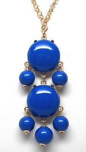 Royal-Blue-Cabochon-Bubble-Statement-Necklace-20-23-inch-Goldtone-Chain-NEW