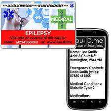EPILEPSY Medical Emergency ID Card I.C.E. FREE Silver Medic Alert Service Wallet