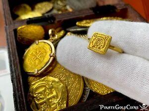 BYZANTINE RING JESUS CHRIST 6 CENTURY PIRATE GOLD COINS FLEET ANCIENT JEWELRY