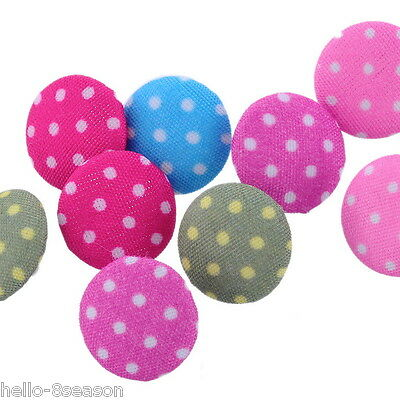 200Acrylic Hello Buttons HOT Sewing Fabric Covered Round Mixed 14mm Dia.B25238