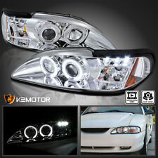 Fits 1994 1998 Ford Mustang Clear Led Halo Projector Headlights Lamps Leftright Fits Mustang