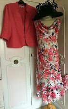 JACQUES VERT Coral Dress & Jacket Suit Mother of the Bride Plus Size 22 24