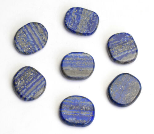 7 Pieces Natural Chakra Polished Lapis Lazuli Carved Crystal Healing Palm Stones