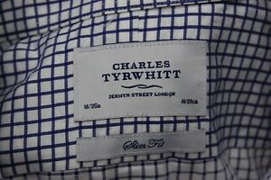 Charles-Tyrwhitt-London-Blue-Check-LONG-SLEEVE-SHIRT-16-x-35-Large-L-Slim