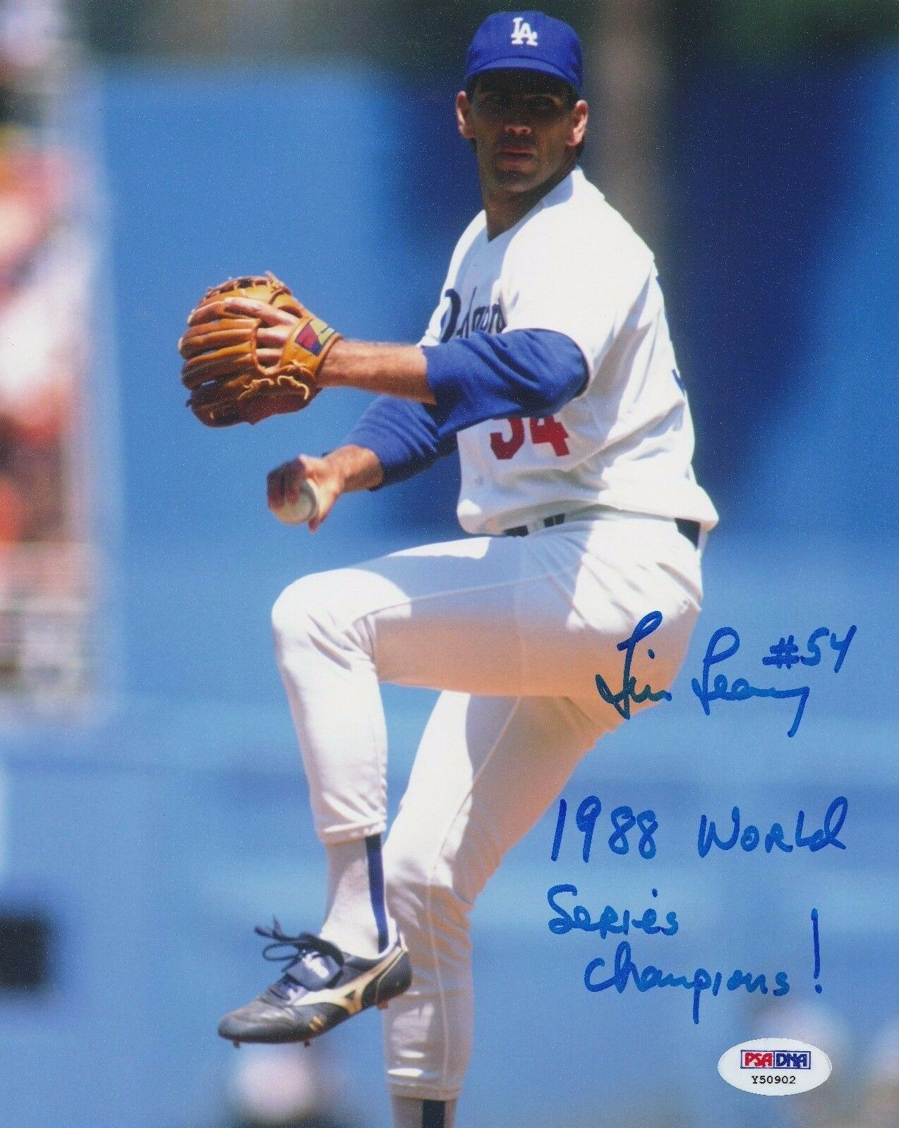 Tim Leary Signed Dodgers 8x10 Photo