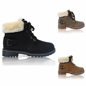 WOMENS-LADIES-LACE-UP-COLLAR-FUR-LINED-WINTER-WARM-ANKLE-BOOT-SIZE-3-8