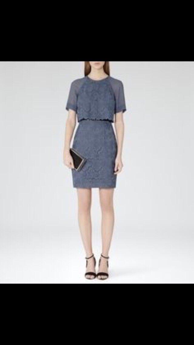 BNWT Women Reiss Mesh And Lace bluee Dress