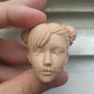 Unpainted 1//6 Chun-Li Resin Beauty Girl Head Figure Model Kit Unassembled GK