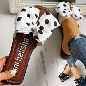 Sandals-Slippers-Bow-Shoes-Flat-Flip-Ladies-Summer-Slip-Women-On-Sliders