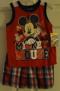 Disney-Mickey-Mouse-2-Piece-Toddler-Boys-Graphic-Tank-And-Plaid-Shorts-Set
