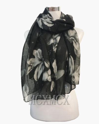 Women Lady Long Big Flower Print Pattern Shawl Scarf  Warp Stole