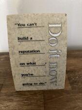 Vintage Do It Now Letter Memo Holder Desk Organizer Paper Weight Granite Base