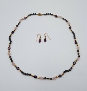 Gorgeous-Matching-Amethyst-Rose-Quartz-Bead-Necklace-and-Pierced-Earrings-Set