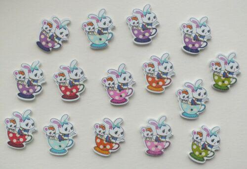 15 Bunnys en una taza de té Botones de Madera Pintada 2 agujeros Tema De Pascua