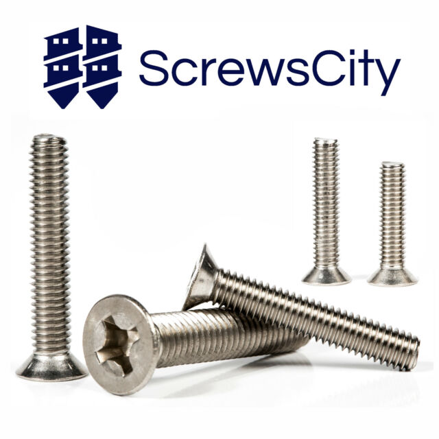 PHILLIPS MACHINE SCREWS COUNTERSUNK FLAT HEAD BOLTS M3 M4 M5 M6 M8 STAINLESS
