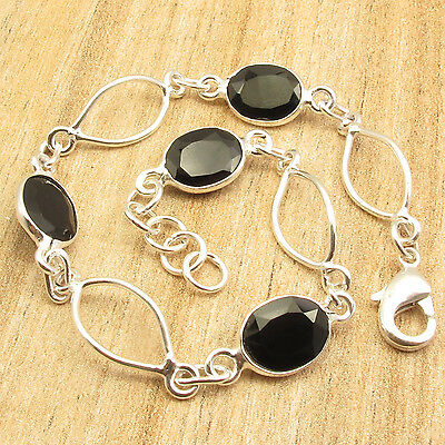 "925 Silver Plated Cut BLACK ONYX STYLISH Bracelet ART Jewelry 7 7/8""  4.8 Grams"