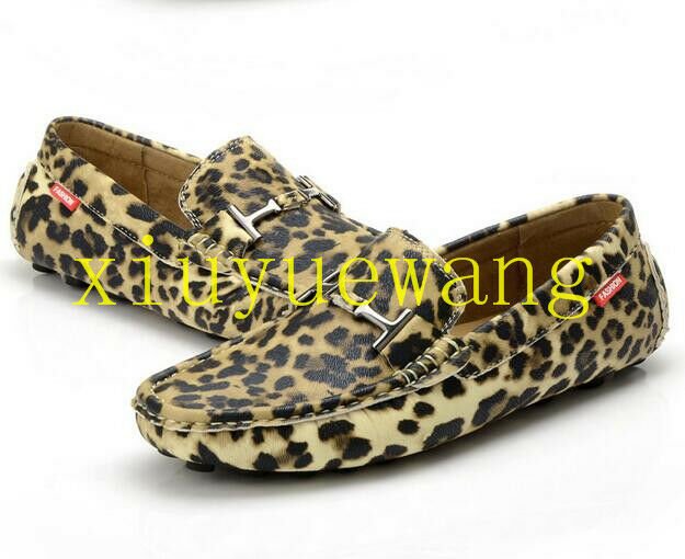 Mens Casuals Loafers Flats Leopard Driving shoes Comfy Slip On British Moccasins