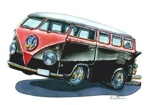 FREE UK POST RED AND BLACK VW BUS CROSS STITCH CHART BN