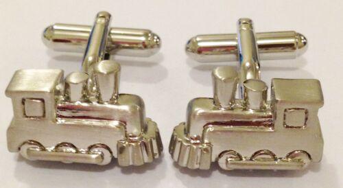 NOVELTY SILVER STEAM TRAIN LOCOMOTIVE MENS DRESS CUFF LINKS CUFFLINKS #1048