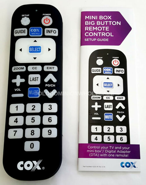 NEW Cox Cable 4220-RF Mini Box Big Button TV Remote Control W// Batteries Sealed