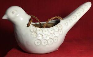 Vintage-Hanging-Dove-Bird-Ceramic-Pottery-Planter-Pot-White-Glaze-Flowers-8-5-034