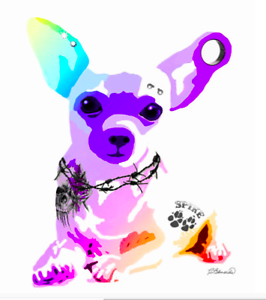 "NEW Fine Art Dog CHIHUAHUA print TATTOO 8x10"" PIERCING EAR PLUG BAD BONE ZA110"