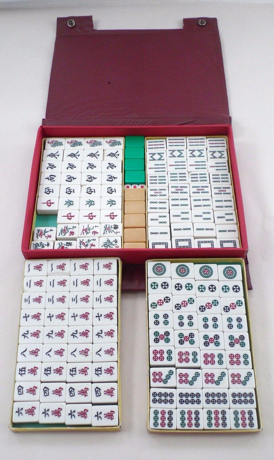 1950s 1960s Vintage Mah Jong Mahjong 2 tonos conjunto de azulejos en Estuche de Viaje Original