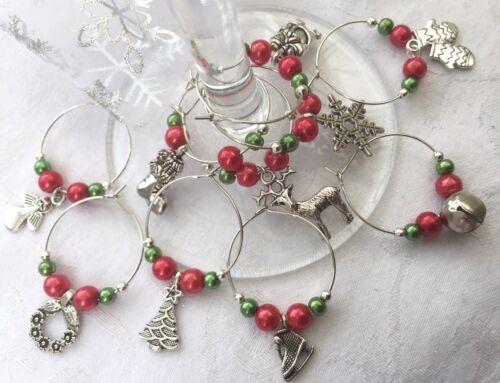 6 Wine Glass Charms Christmas Sparkling Stocking Filler Secret Santa NEW !!