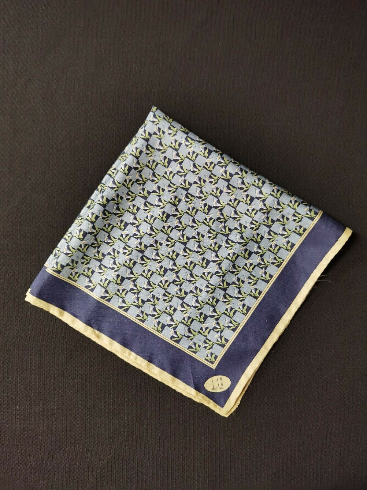 Silk Handkerchief by Dunhill with Abstract Flowers Pattern