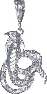Sterling-Silver-Cobra-Snake-Charm-Pendant-Necklace-Diamond-Cut-Finish-with-Chain