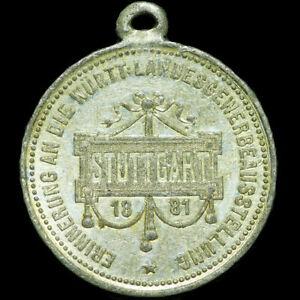 STUTTGART-WURTTEMBERG-Tragbare-Zinn-Medaille-1881-LANDESGEWERBE-AUSSTELLUNG