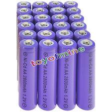 24 AA Purple Rechargeable Batteries NiCd 2800mAh 1.2v Garden Solar Light Lamp