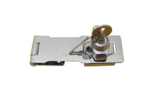 Hasp Locking Heavy Duty Chrome 4.5 w//2 keys /& screws Shed Door Gate Cabinet