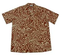 Cotton Blend Cream Brown Tattoo Polynesian Luau Hawaiian Aloha Men Shirt-m-4xl
