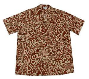Aloha Heren Hawaiian s Brown Shirt Tattoo Luau Cotton Polynesisch Blend 4xl Cream SzpMqGUV